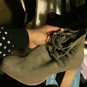 Grey/Taupe boots with platform heel/fringe detail